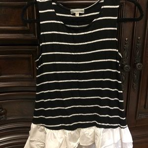 B&W stripe tank top with white ruffle bottom